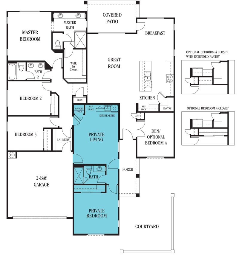 Lennar and meritage multi gen new homes for sale in tucson for Tucson home builders floor plans
